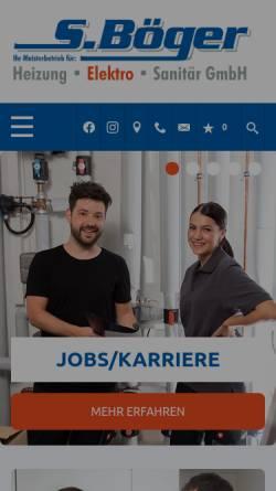 Vorschau der mobilen Webseite www.boeger-bochum.de, S. Böger Heizung- Klima- Sanitär
