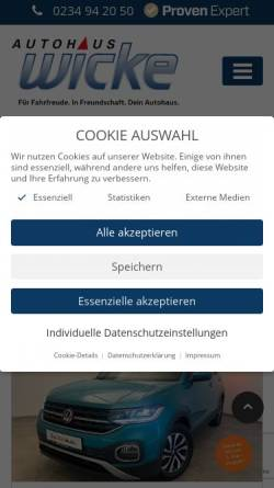 Vorschau der mobilen Webseite www.vw-wicke.de, Autohaus Wicke GmbH