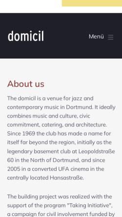 Vorschau der mobilen Webseite www.domicil-dortmund.de, domicil e.V.
