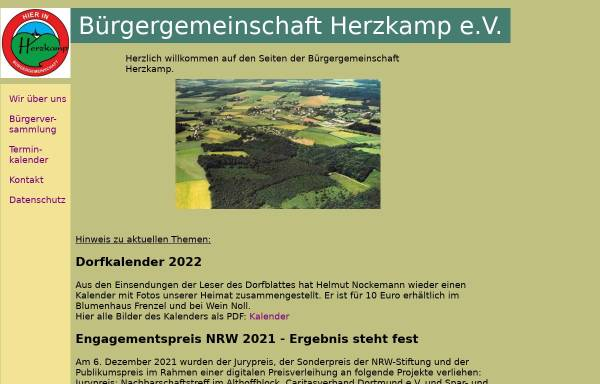 Vorschau von www.buergergemeinschaft-herzkamp.de, Bürgergemeinschaft Herzkamp