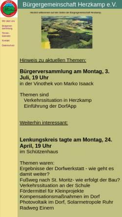 Vorschau der mobilen Webseite www.buergergemeinschaft-herzkamp.de, Bürgergemeinschaft Herzkamp