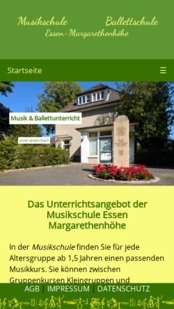 Vorschau der mobilen Webseite www.musik-ballett.de, Musik- und Ballettschule Essen - Margarethenhöhe
