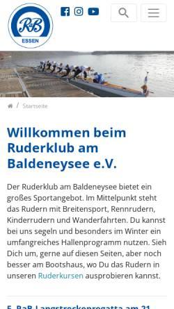 Vorschau der mobilen Webseite www.rab-essen.de, Ruderklub am Baldeneysee e.V.