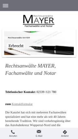 Vorschau der mobilen Webseite www.anwaelte-mayer.de, Rechtsanwälte und Notare Mayer und Euler in Sprockhövel Hasslinghausen