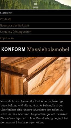 Vorschau der mobilen Webseite www.konform-moebel.de, Konform Massivholzmöbel
