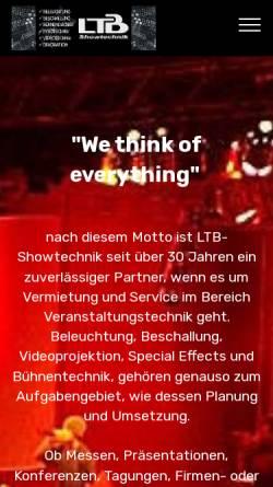 Vorschau der mobilen Webseite www.ltb-showtechnik.de, LTB Showtechnik