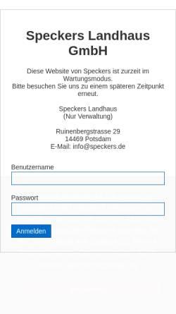 Vorschau der mobilen Webseite www.speckers.de, Speckers Gaststätte zur Ratswaage