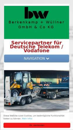 Vorschau der mobilen Webseite www.berkenkamp-wuellner.de, Berkenkamp & Wüllner GmbH & Co.