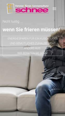 Vorschau der mobilen Webseite www.schnee-fenster.de, Schnee GmbH & Co. KG,Türen und Fensterbautechnik