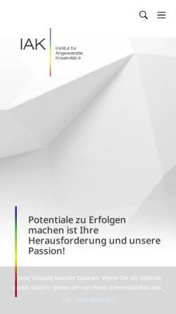 Vorschau der mobilen Webseite www.iak.de, IAK - Institut für angewandte Kreativität