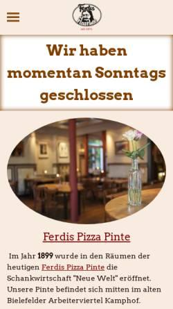 Vorschau der mobilen Webseite www.ferdispizzapinte.de, Ferdis Pizza Pinte