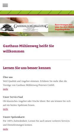 Vorschau der mobilen Webseite gasthaus-muehlenweg.de, Gasthaus Mühlenweg