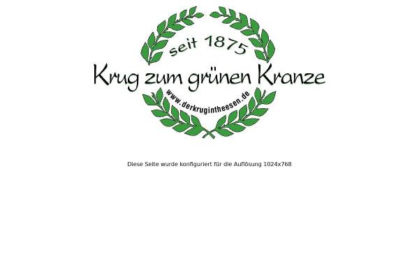 Vorschau von www.derkrugintheesen.de, Krug zum grünen Kranze