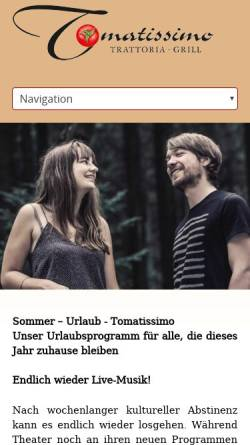 Vorschau der mobilen Webseite www.tomatissimo.de, Restaurant Tomatissimo