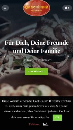 Vorschau der mobilen Webseite www.haxenhaus.de, Haxenhaus zum Rheingarten
