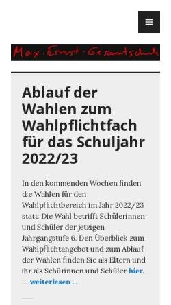 Vorschau der mobilen Webseite www.max-ernst-gesamtschule-koeln.de, Max-Ernst-Gesamtschule Bocklemünd