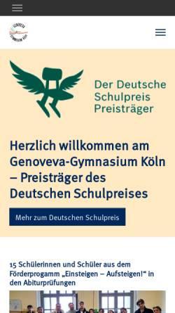 Vorschau der mobilen Webseite www.genoveva-gymnasium.de, Genoveva Gymnasium Köln