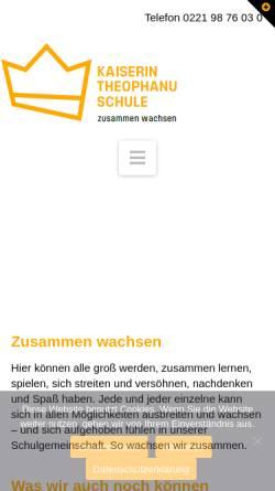 Vorschau der mobilen Webseite www.kts-koeln.de, Kaiserin-Theophanu-Schule / Gymnasium Kantstrasse