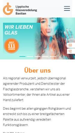 Vorschau der mobilen Webseite www.lipp-glas-bastian.de, Lippische Glas Veredelung Bastian GmbH