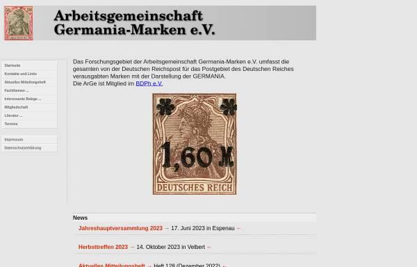 Vorschau von www.germania-marken.de, Arbeitsgemeinschaft Germania e. V.