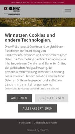 Vorschau der mobilen Webseite www.koblenz-touristik.de, Koblenz-Touristik