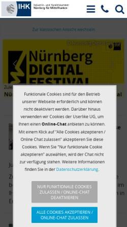 Vorschau der mobilen Webseite www.ihk-nuernberg.de, IHK Nürnberg für Mittelfranken