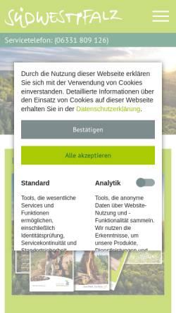 Vorschau der mobilen Webseite www.suedwestpfalz-touristik.de, Südwestpfalz-Touristik