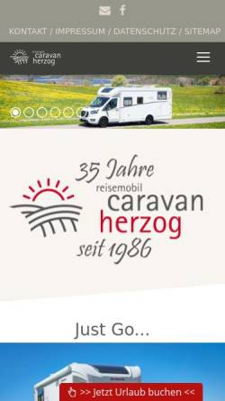 Vorschau der mobilen Webseite www.campingherzog.de, Reisemobil-Caravan Herzog OHG
