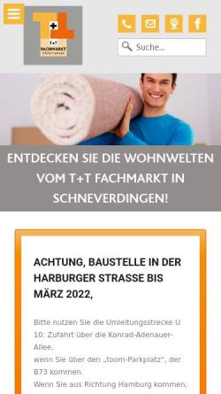 Vorschau der mobilen Webseite www.tt-fachmarkt.de, T+T Fachmarkt Christiansen