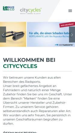 Vorschau der mobilen Webseite www.citycycles.de, City Cycles