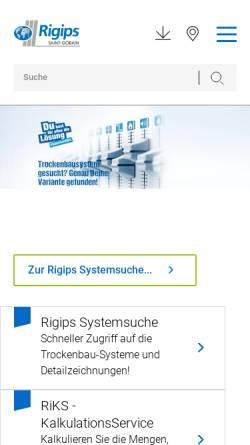 Vorschau der mobilen Webseite www.rigips.de, Saint-Gobain Rigips GmbH