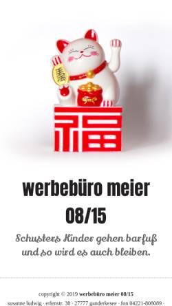 Vorschau der mobilen Webseite meier0815.com, werbebüro meier 08/15
