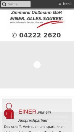 Vorschau der mobilen Webseite www.zimmerei-duessmann.de, Zimmerei Düßmann