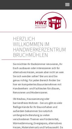Vorschau der mobilen Webseite www.hwz-gmbh.de, Handwerkerzentrum [HWZ] Kooperation des Bauhandwerks Bruchmühlen GmbH