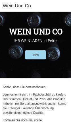 Vorschau der mobilen Webseite www.wein-und-co.com, Wein & Co. Ingeborg Wennerscheid