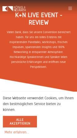 Vorschau der mobilen Webseite www.koenig-neurath.de, König+Neurath AG