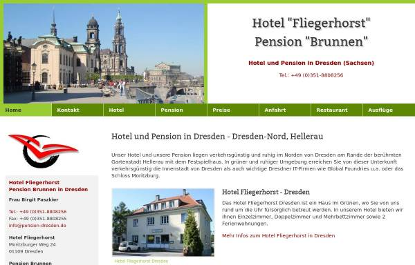 Vorschau von www.hotelpension-dresden.de, Hotel Fliegerhorst und Pension Brunnen