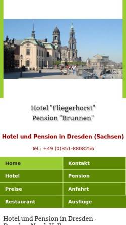 Vorschau der mobilen Webseite www.hotelpension-dresden.de, Hotel Fliegerhorst und Pension Brunnen
