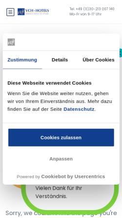Vorschau der mobilen Webseite www.vch.de, VCH-Hotel Martha Hospiz