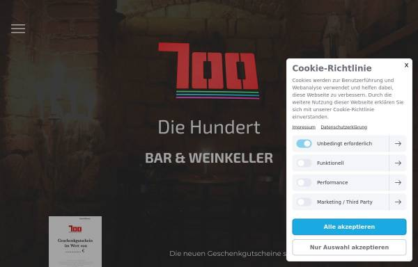 Vorschau von www.diehundert.org, Cafe 100