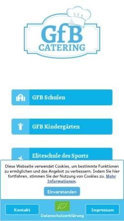 Vorschau der mobilen Webseite www.gfb-catering.com, GfB mbH Geschäftsbereich Catering