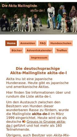 Vorschau der mobilen Webseite www.akita-mailingliste.de, Akita Mailingliste