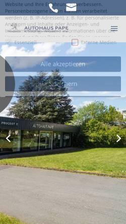 Vorschau der mobilen Webseite autohaus-pape.de, Autohaus Pape GmbH