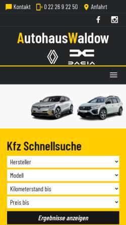Vorschau der mobilen Webseite www.autohaus-waldow.de, Autohaus Waldow GmbH