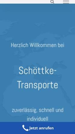 Vorschau der mobilen Webseite www.schoettke-trans.de, Kai Uwe Schöttke, Textiltransporte und Kurierfahrten
