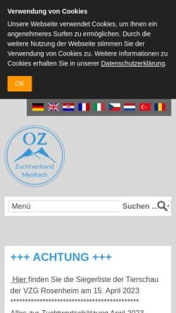 Vorschau der mobilen Webseite www.zuchtverband-miesbach.com, Zuchtverband für oberbayrisches Fleckvieh Miesbach e.V.