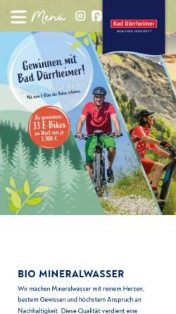 Vorschau der mobilen Webseite www.bad-duerrheimer.de, Bad Dürrheimer Mineralbrunnen