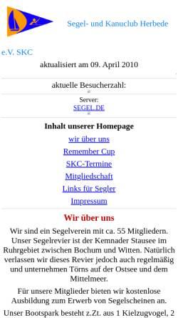 Vorschau der mobilen Webseite www.segel.de, Segel- und Kanuclub Herbede e.V.