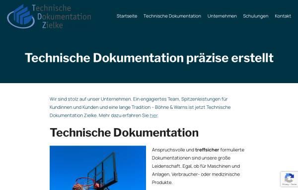 Vorschau von www.boehne-warns.de, Böhne und Warns, Technische Dokumentation