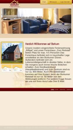 Vorschau der mobilen Webseite www.ferienwohnung-debuhr-borkum.de, Ferienwohnung de Buhr